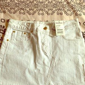 NWT Bebe White Jeweled Denim mini skirt sz 27